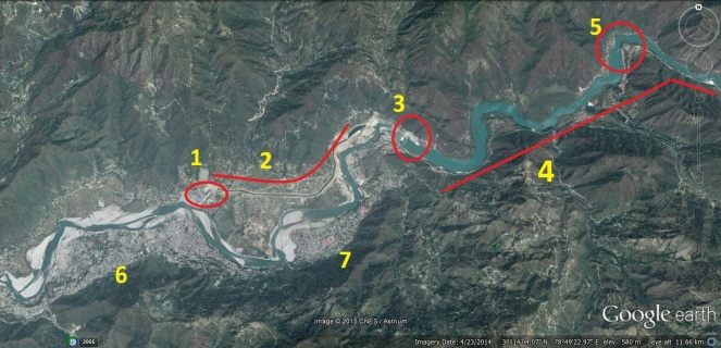 1.SHEP head, 2.Project Canal, 3. Dam, 4. 16 km long reservoir, 5. Dhari Devi temple 6. Srinagar, 7. Srikot (goggle imagery dated April 2014 of the area