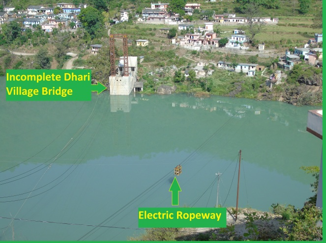 Incomplete Dhari village bridge, electric ropeway (Photo by Author taken on 05.05.2015)