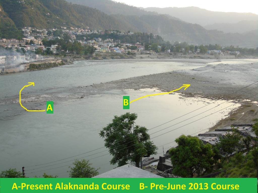Altered flowing path of Alaknanda River (Photo by Author taken on 05.05.205)