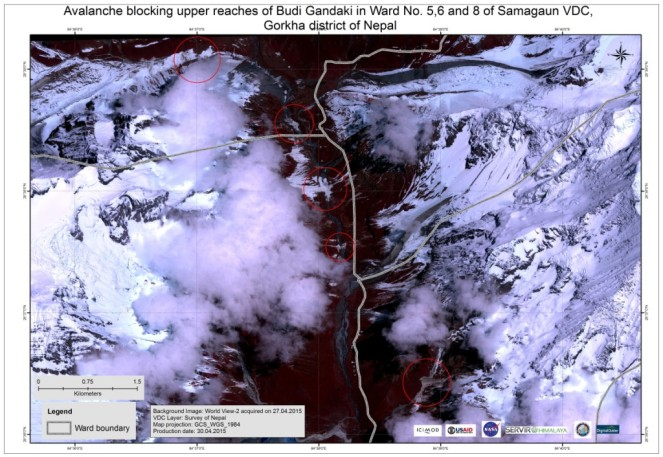 Avalanche blocking upper reaches of Budi Gandaki in Ward No. 5, 5 and 8 of Samagaun VDC, Gorkha district