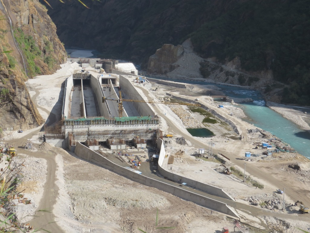 Upper Tamakoshi HEP under construction, it was damaged in the earthquake (Photo from company website)
