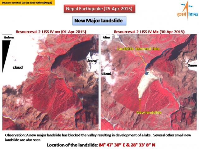 Landslide dam ISRO image 300415