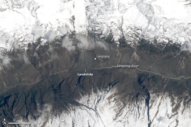 Langtang Landslide NASA Image of April 30, 2015