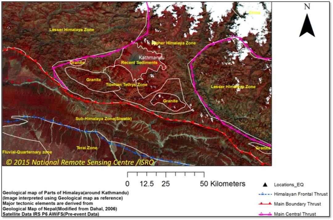 NRSC image Nepal fault lines 0415