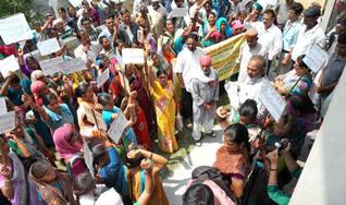 Villagers led by Anil P. Joshi Protest outside SDM office