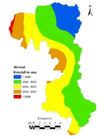 Rainfall Map of Yettinahole Project catchment. Shows that major area gets 3500-4500 mm rainfall Source: IISc Report