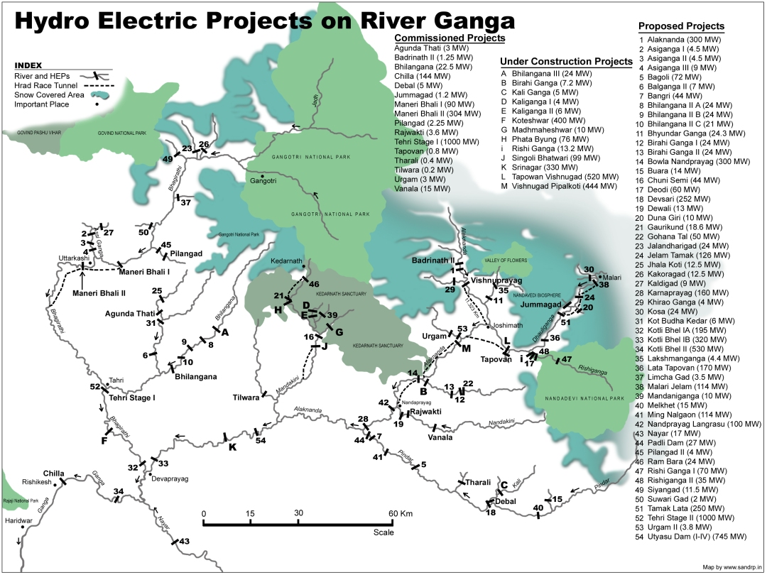 HEPs on Ganga- Bhagirathi and Alaknanda  (SANDRP map)
