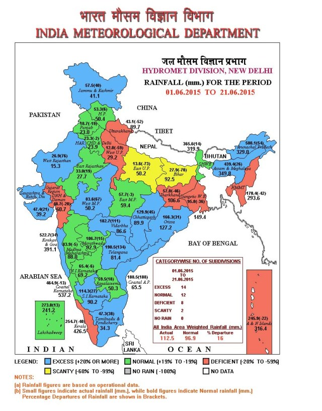 IMD Rainfall Map showing the division wise rainfall as on June 21, 2015