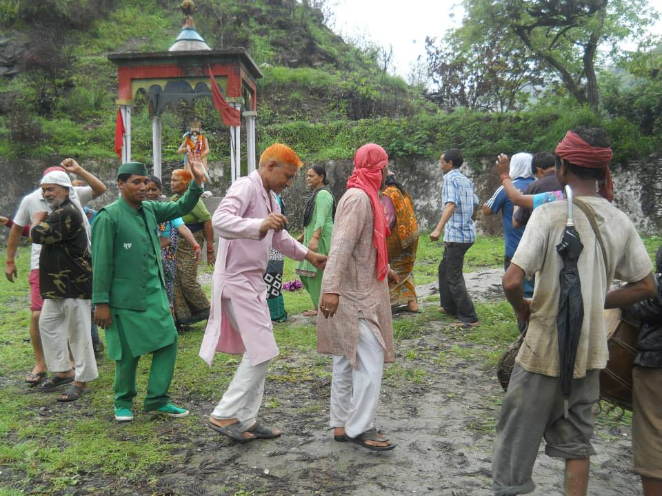 Maletha Villagers celebrating their victory by performing folk dance at dance at legendary Veer Madho Singh Bhandhari's monument
