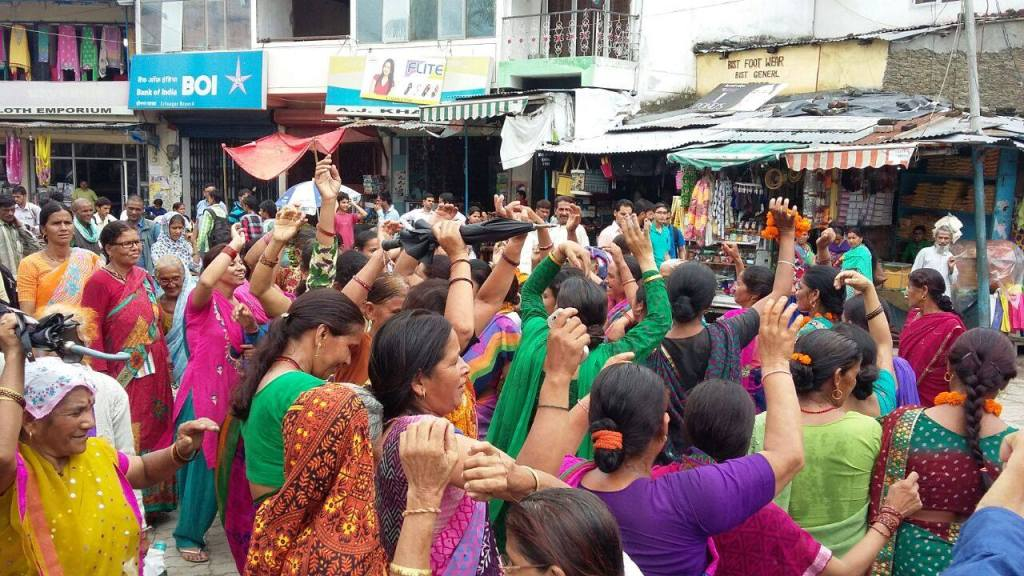 Maletha villagers celebrating their victory