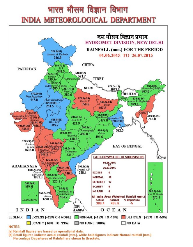 Cumulative Rain Fall Map till 26 July 2015 (Source: IMD)