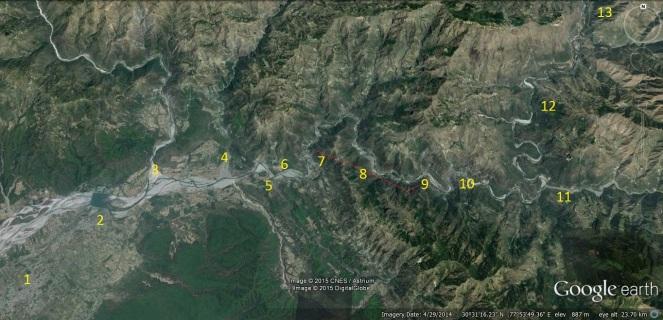 Google image Yamuna River between Nainbagh to Dakpathar Barrage, Vikas Nagar