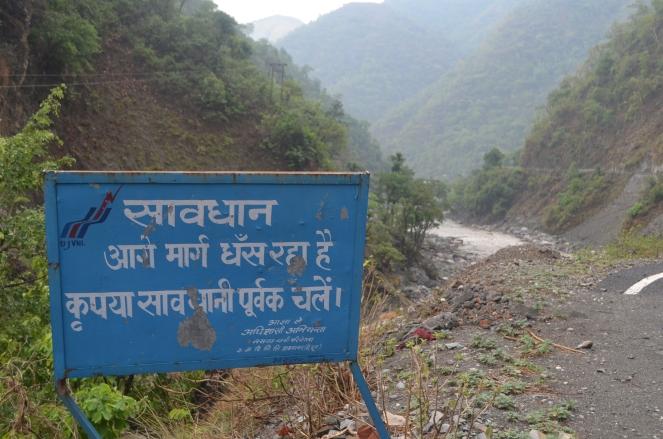 Caution board placed upstream Hathiyari