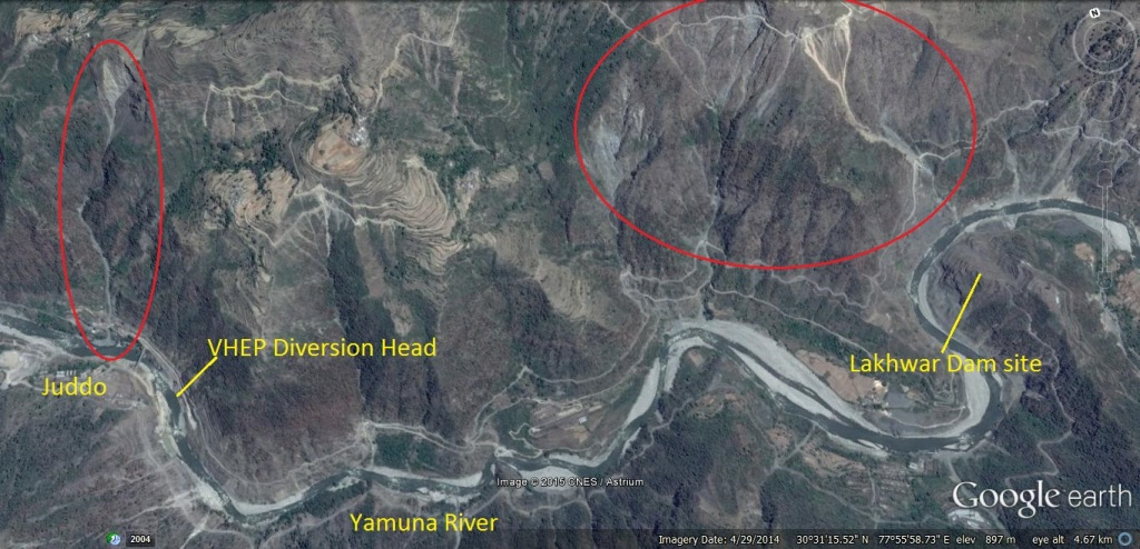 Google imagery showing landslide at Juddo and Lakhwar dam site