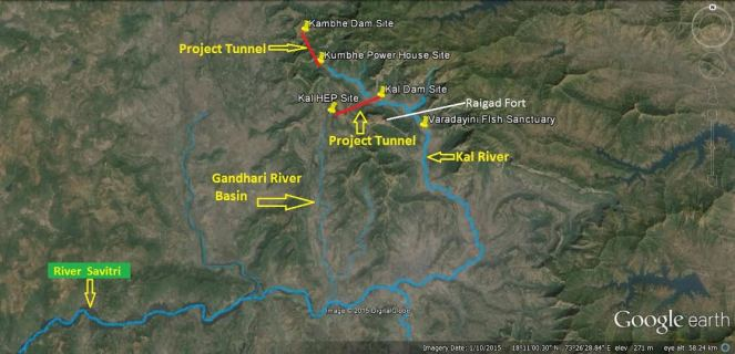 Representation of the Kal-Kumbhe Composite Project. Map by Bhim SIngh Rawat, SANDRP