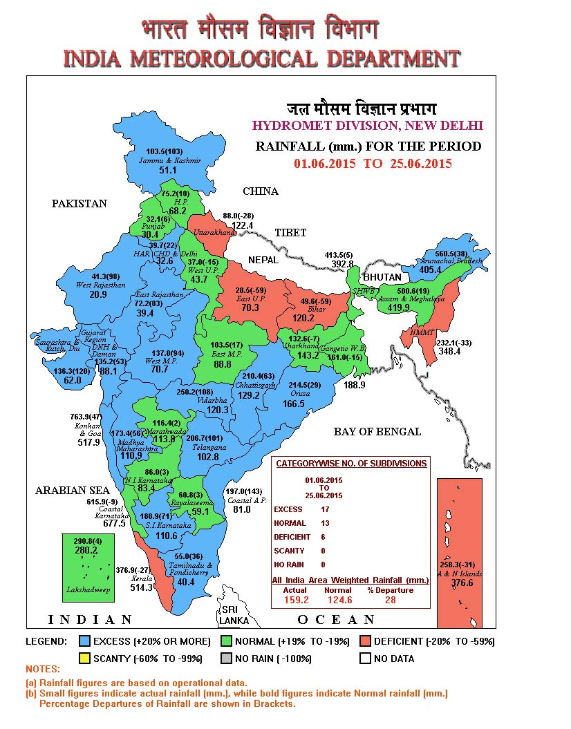 IMD Rainfall Map for June 25, 2015