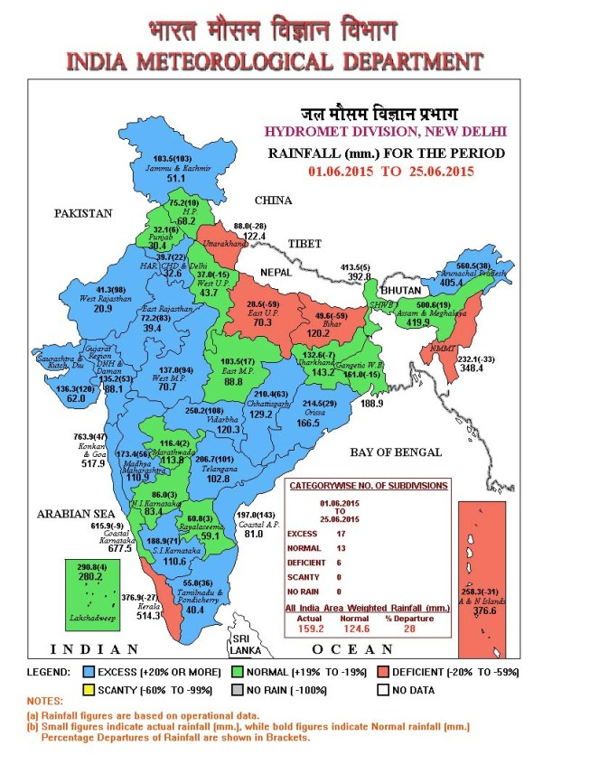 IMD Rainfall Map for June 25, 2015