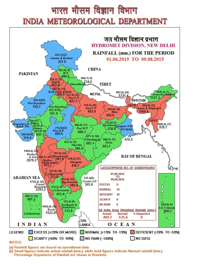 Cumulative Rainfall Map up 09 Aug. 2015 (Source: IMD)