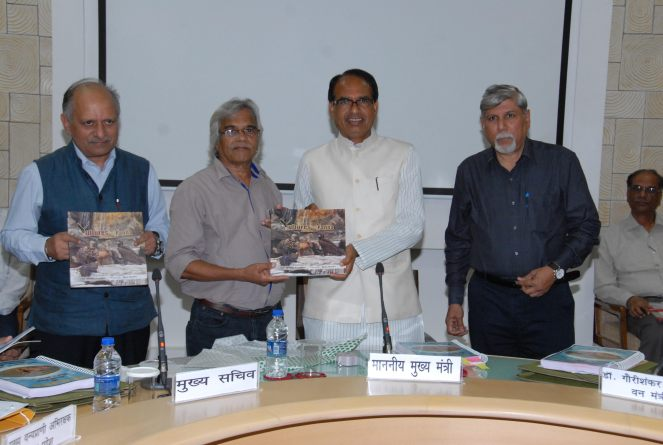 Madhya Pradesh Chief Minister Releasing the Book on Vultures of Panna Tiger Reserve in August 2015 in Bhopal along with author Abhilash Khandekar