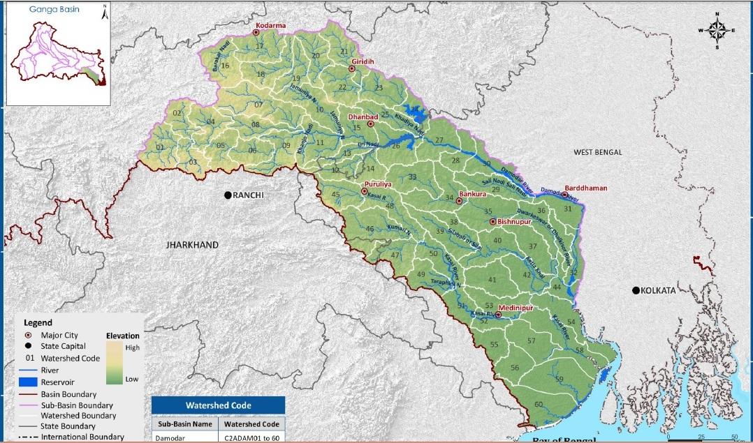 WRIS map of Damodar Basin