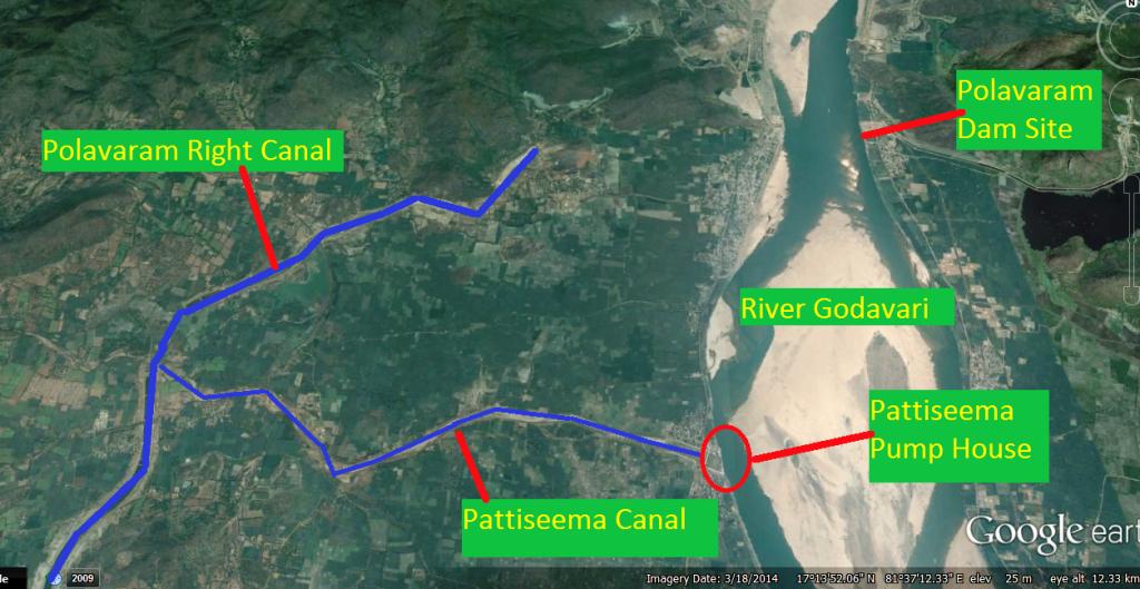 Pattiseema Googla Earth Map (Bhim Singh Rawat, SANDRP)