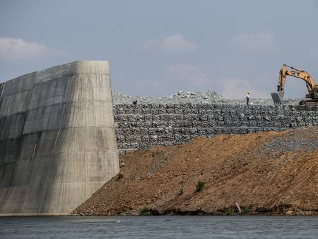Construction of the Sesan 2 dam is seen on May 7, 2015 in Stung Treng, Cambodia (Getty)