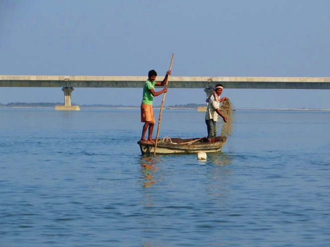 Fishing at Sadi Ghat across Lohit. DOlphin SIghtings are common here.