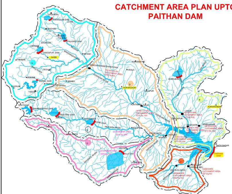 Map of Jayakwadi Dam Catchment including upstream Dams Source: Godavari Marathwada Irrigation Development Corporation, Government of Maharashtra