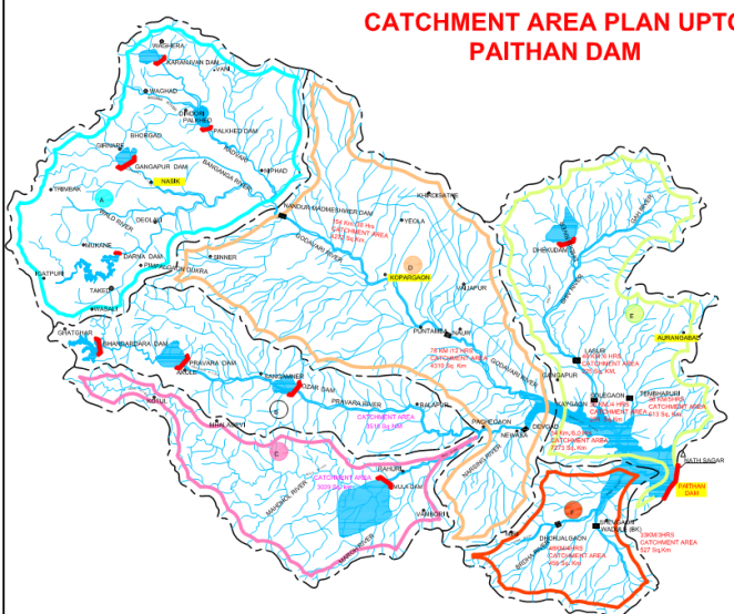 Map of Jayakwadi Dam Catchment including upstream Dams Source: Godavari Marathwada Irrigation Development Corporation, Government of Maharashtra