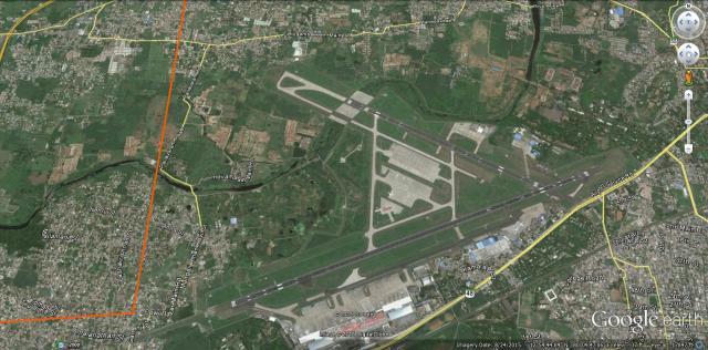 Chennai Airport bang in the Adyar river