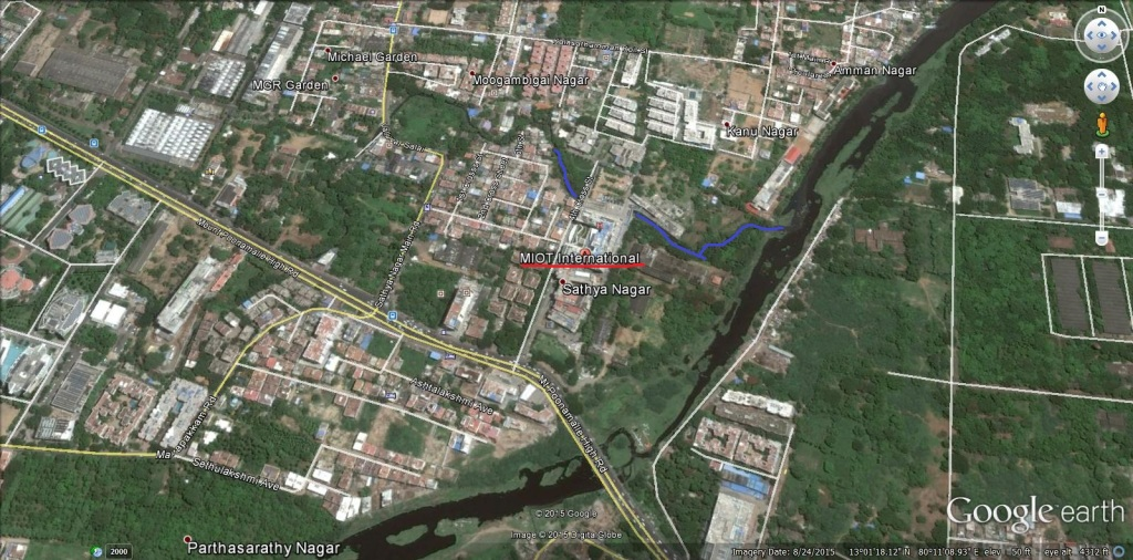 Chennai MIOT hospital in flood plain and drain