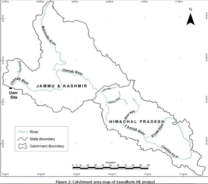 Outline Map of Chenab basin upstream from proposed Sawalkote HEP