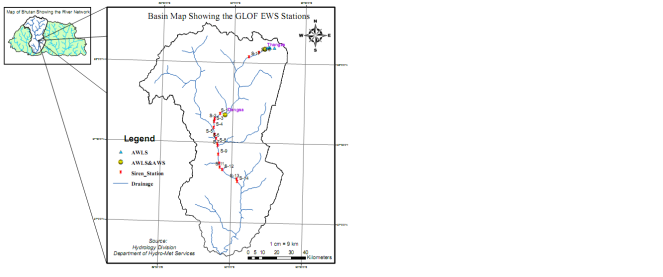 Map showing the Early Warning System sites along Punakha