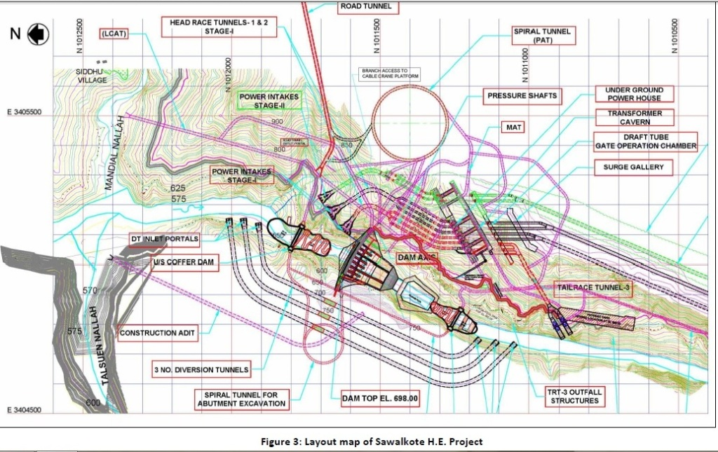 Layout of proposed Sawalkote Project site (Source: EIA Exec Summary Jan 2016)