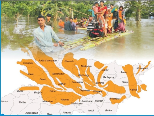 Cover photo and map from NIDM report of Bihar floods 2007