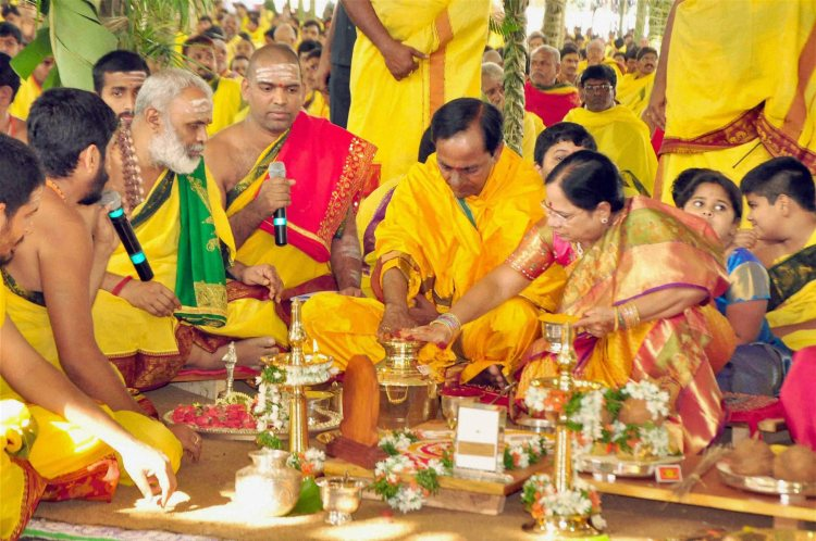 K Chandrasheker Rao with familiy at puja