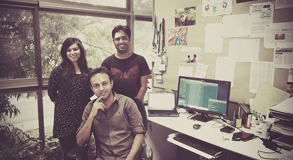 Dr Koll (sitting) and his team at the Climate Lab, IITM