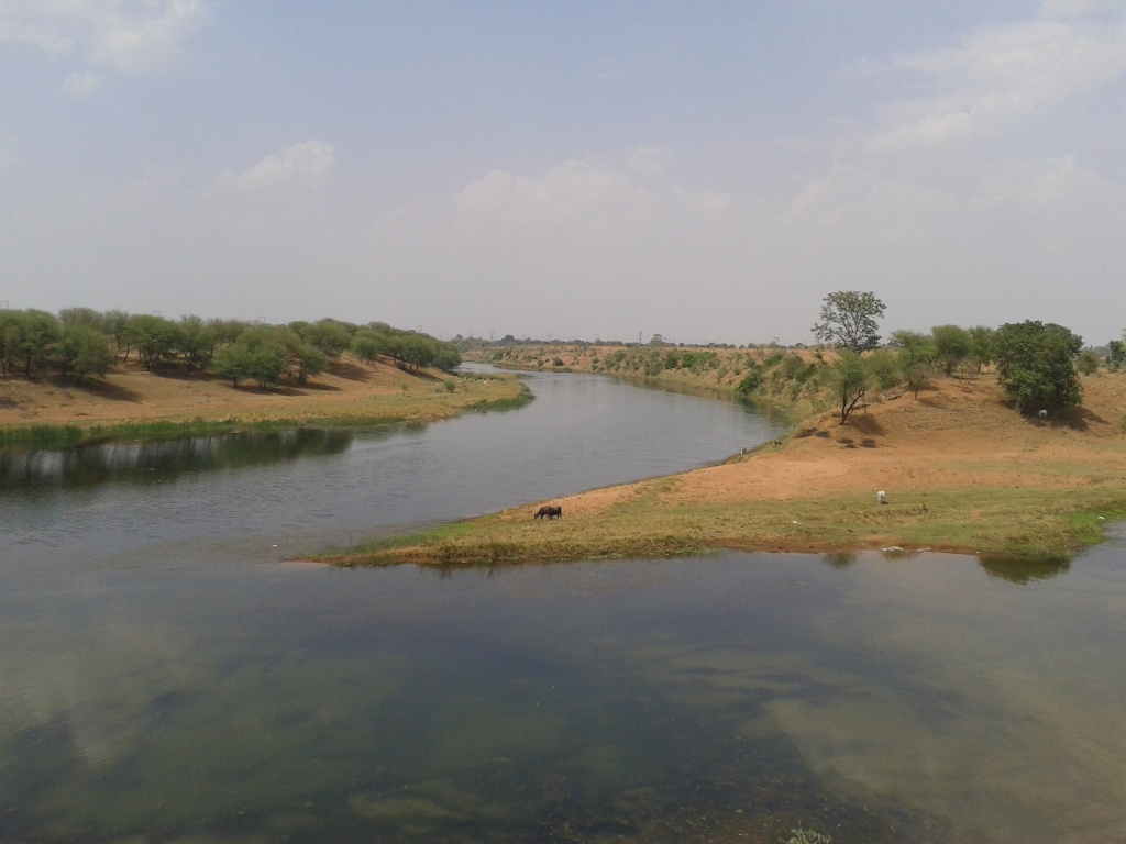 Confluence of river Patne (nearer in the pic) with river Ken (farther in the pic) at vill Chandanpur (Photo by Manoj Misra)