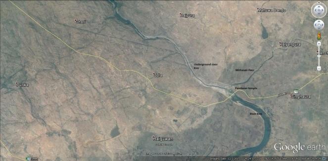 River Ken at Pandavan. Google earth image. Dec, 2015 (Photo by Manoj Misra)