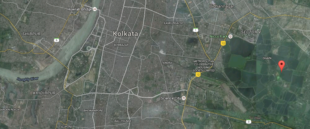 Google map showing the EKW, Kolkata and Hooghly river