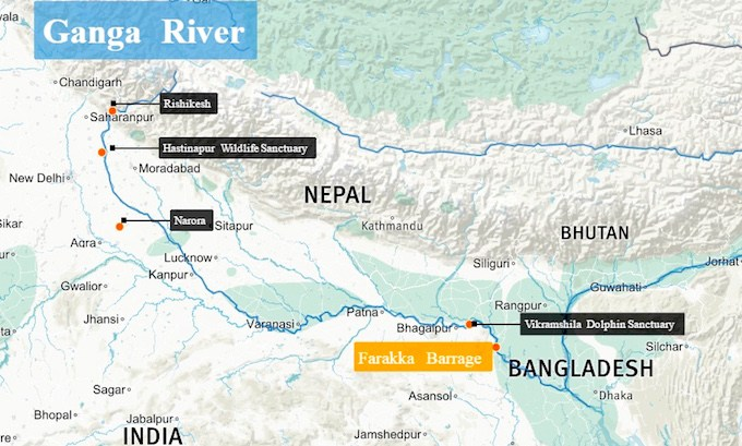 Dolphins-crocodiles-and-fish-are-under-threat-along-the-Ganga.-Map-by-Beth-Walker