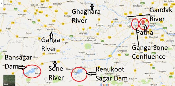 Ganga Sone Rivers Map