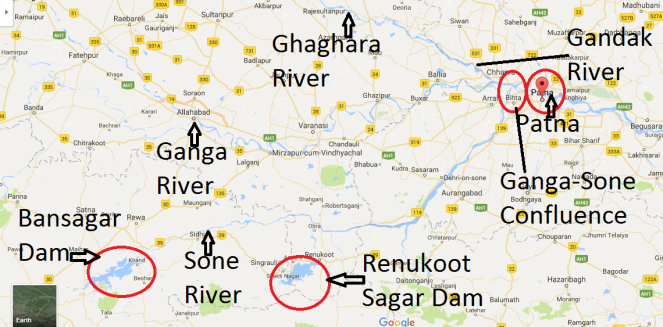 Map showing locations of Bansagar Dam and other important places