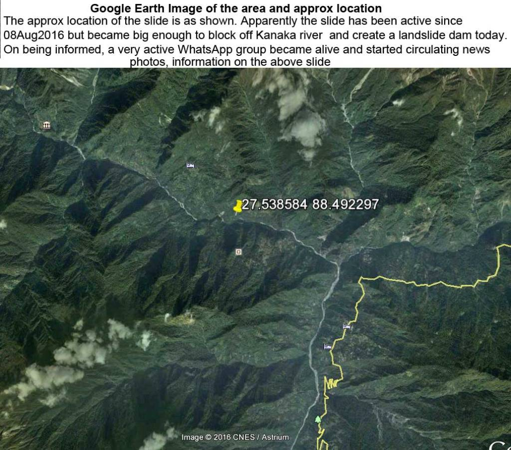 Google Earth Image of site of the Dzongu Landslide