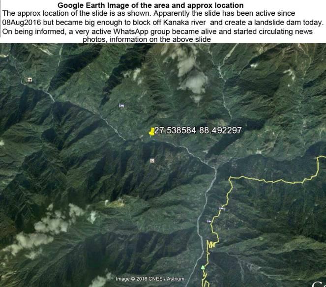 Google Earth Image of site of the Dzongu Landslide
