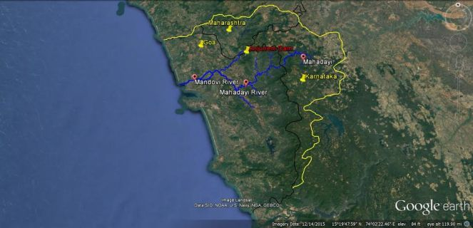 Map based on Google Earth by Bhima Singh Rawat, SANDRP. Note that Mahadayi anf Mandovi is the same river