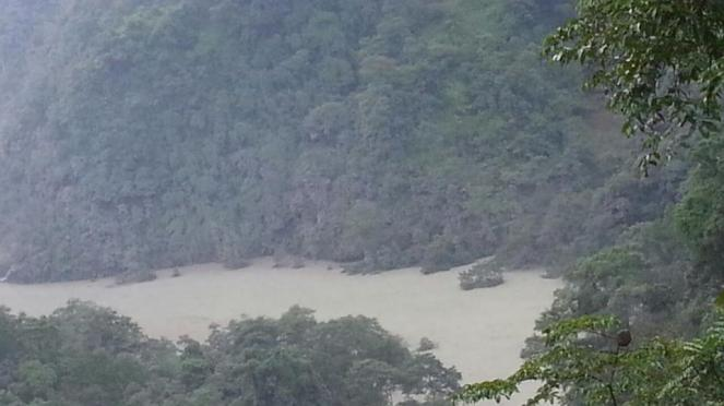 Photo of Reservoir behind the landslide dam posted on FB by Ujjwal Khawas