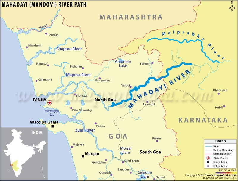 Figure 8: Map showing Mahadayi and Malaprabha rivers (Photo: itsgoa.com)