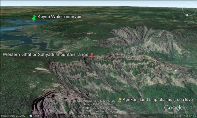 Unique location of Koyna reservoir which diverts water westwards from Krishna Basin (Photo: Akshardhool)