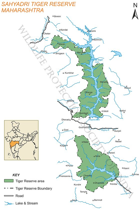 Map of Sahyadri Tiger Reserve (Source: Wildlife Protection Society)